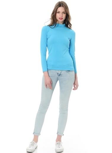 Grip Boğazlı Sweatshirt Turkuaz